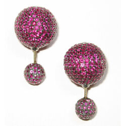 11.05ct Pave Ruby Stud Earrings 925 Sterling Silver 18k Gold Handmade Jewelry