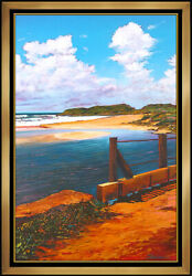 Tom Swimm Original Oil Painting On Canvas Large Beach Seascape Signed Art