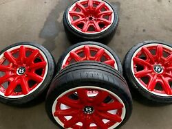 5 X Genuine Bentley 19 Red Wheels Continental Gt Vw And Michelin Super Sports