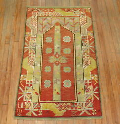 Antique Turkish Melas Oushak Prayer Rug Size 3and039x5and0394and039and039
