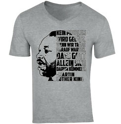 Martin Luther King Kein Problem - NEW COTTON GREY V-NECK TSHIRT