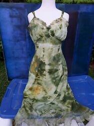 70s vintage Tie Dyed Sexy Sage CocoaBoho Hippie Festival Dress Sundress Medium