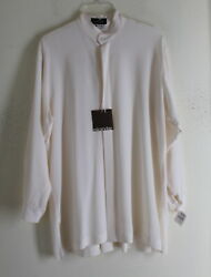 NWT Eskandar Sz 0 IVORY Silk Crepe-Chine Exquisite Long A-Line Tunic Shirt Top