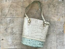 Brahmin Tri-color Embossed Leather Nicole Satchel Tote Rare Mint/ivory/champagne