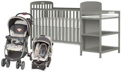 Dream On Me 4-in-1 Full Size Baby Crib Changing Table with Stroller Car Seat Set