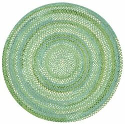 Capel Rugs Waterway Soft Cotton Chenille Round Braided Rug Sea Monster Green