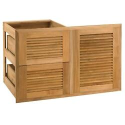 Pacific Teak Louver 35-inch Teak Wood Access Door And Double Drawer Combo