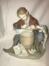 Lladro Love Letter 1406 Norman Rockwell Collection, Missing Pen.