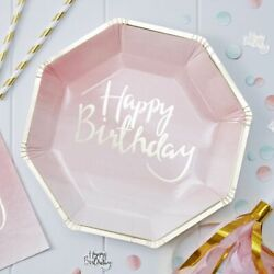 Pink Ombre Party Plates 23cm Birthday Gold Foiled 8 Pack Tableware Girls Ladies