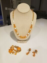 Rare Signed Hobe Vintage Couture Necklace Bracelet And Earrings Set - Must See