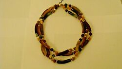 Amazing 3 Lines Beaded Necklace Made Of Genuine Lucite Stones