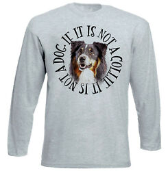 Black Collie Dog Circle NEW COTTON GREY TSHIRT