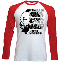 Martin Luther King Kein Problem - NEW RED LONG SLEEVES COTTON TSHIRT