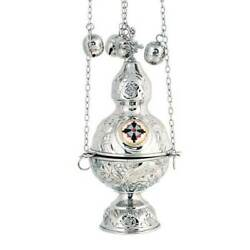Orthodox Church Nickel Plated Thurible Censer Incense Burner 4 Chains 12 Bells