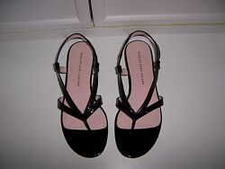 NWOB Marc by Marc Jacobs Black Patent Leather Strappy Flats Sandals  37.5 US 7.5