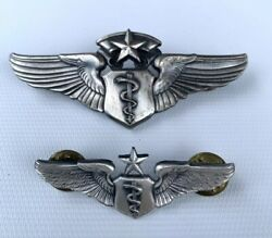 """Lot 2 Vtg Usaf Master Aviator Pilot Wings Pins 1/20 Sil.fld Sz 3and2"""" Made In Usa"""