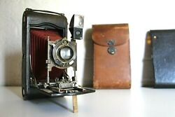 Antique Large Kodak Red Bellows Camera - Original Leather Case - Fully Working