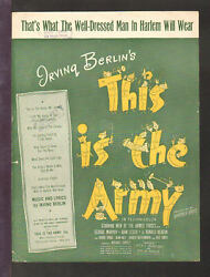 This Is The Army 1943 Well-dressed Man In Harlem Wwii Movie Sheet Music Q24
