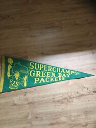 Rare Vintage Superchamps Green Bay Packers Packers Pennant