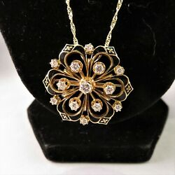 Vintage Enamel And Yellow Gold Poppy Pendant With 0.89ct Diamonds Certified