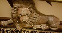 19th Century Victorian English Cast- Iron Lion Doorstop With Old Red Patina
