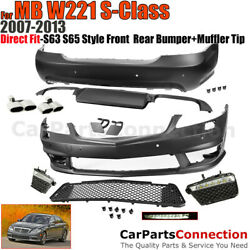 MB S63 S65 AMG Style 2007-2013 Body Kit Assy Front Rear Bumpers Muffler Tip W221