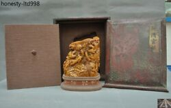 Rare China Tianhuang Shoushan Stone Carved Wealth Beast Pixiu Seal Stamp Signet