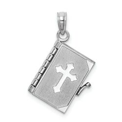 14k 14kt White Gold Lords Prayer Bible Pendant 22.25 Mm