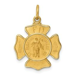 14k Yellow Gold Solid Polished/satin Small St. Florian Fire Dept. Badge Medal