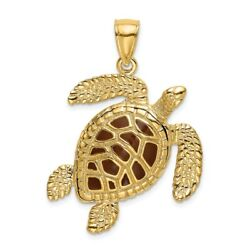 14k 14kt Yellow Gold 3-d Brown Enamel And Textured Sea Turtle Charm Pendant