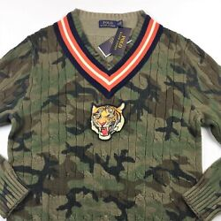 Polo Men Military Army Camo V-neck Cable Knit Sweater M L Xl 2xl