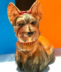 Yorkshire Terrier Stone Carvings figurine dog 5.36 Lbs Exclusive Selenite Russia