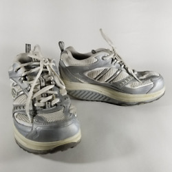 Skechers Shape-ups Womenand039s White And Silver Walking Toning Lace Up Shoes   Size 6