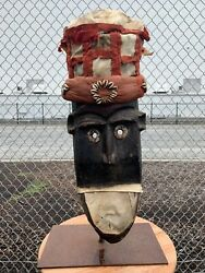 Antique African American Wood Hand Carved Face Mask With Moveable Mouth