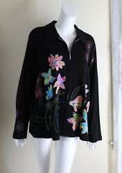 Nwt Laura Ashley -sz 2x Fabulous Art-to-wear Embroidered Floral Zip Jacket