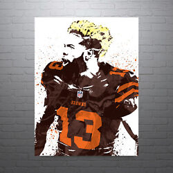 Odell Beckham Cleveland Browns Poster Free Us Shipping