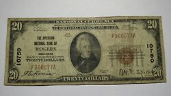 20 1929 Rogers Arkansas Ar National Currency Bank Note Bill Ch. 10750 Fine