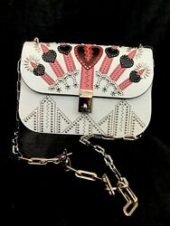 Valentino Purse Love Blade White Pink Embellished Silver Studs Chain Strap Nwt
