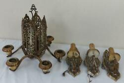 Antique Neo-classical Brass/silver Washed Chandelier W/3 Matching Sconces Sale