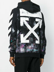 OFF-WHITE MEN  DIAGONAL GALAXY BRUSH ZIP UP HOODIE SIZE S