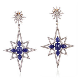4.4ct Pave Diamond Sapphire Dangle Earrings 18k Gold 925 Sterling Silver Jewelry