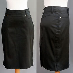 Gucci Black Stretch Cotton Straight Low Rise Pencil Skirt Side Pleats 38 XS NWOT $139.00
