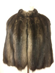 Vintage Golden-brown Russian Sable Fur Silk-lined Short Cape Stole O/s