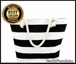 Beach Tote Bag With Zipper Pocket White & Black Striped w Rope Handles Summer