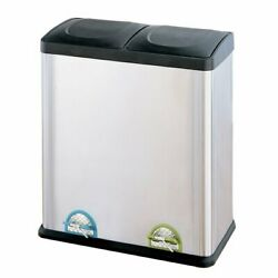 Step On Recycling Bin Stainless Steel 15.85 Gallon Multi-Compartment Trash Can