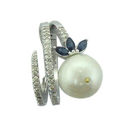 11.6ct Pearl And Sapphire Cocktail Ring 18k White Gold Diamond Jewelry For Women
