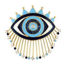 Memorial Day Sapphire And Diamond Evil Eye Finding 10k Yellow Gold Jewelry Gift