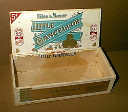 Vintage American Cigar Company Little Chancellor Wood Cigar Box - Very Old