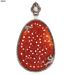 Carved Agate Diamond Pendant 18k Gold 925 Sterling Silver Handmade Jewelry