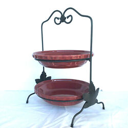 Longaberger Wrought Iron 2 Pie Server Buffet Stand Holds 10 Dinner Plates Also